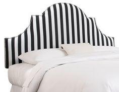 Hedren Headboard, Black/White Stripe