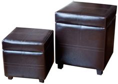 Simpli Home Avalon Dark Brown Square Faux Leather Storage Ottoman on shopstyle.com