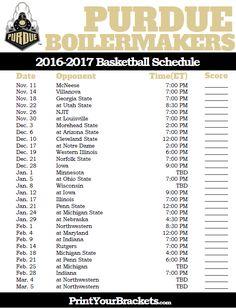 Purdue Boilermakers 2016-2017 College Basketball Schedule