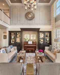 by @tollbrothers • Breaking up tall ceilings with moldings and paint