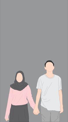 Couple Hijab, Wedding Couple Cartoon, Graduation Wallpaper, Cute Walpaper, Dark Red Wallpaper, Cover Wattpad, Korea Wallpaper, Islamic Cartoon, Anime Muslim