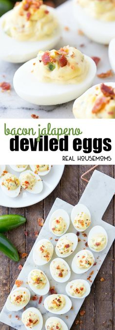 Bacon Jalapeno Deviled Eggs are a delicious dish that adds a kick to the traditional spring, summer, or Easter appetizer! via @realhousemoms