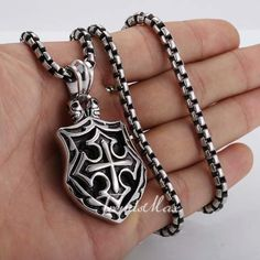 Cross Shield Pendant Black Silver Tone 316L Stainless Steel Necklace w 22 inch Box Chain