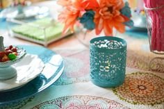 Teal candle holders