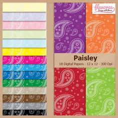 PAISLEY PATTERN - Digital Scrapbooking Paper Pack  by Flavoree, $5.00