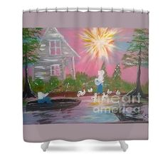 Shower Curtains With Folk Art by Seaux N. Seau Soileau design shows a Day In Acadiana. Traditional Acadiana architecture and landscape. Lady feeds chickens while man fishes.  A dear swims in the bayou as the sun spreads sunbeams out.