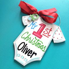 My first Christmas ornament- personalized ornament - painted ornament for baby - pacifier- baby bodysuit - hand lettering- New baby Ornament by HazelMartinDesigns on Etsy