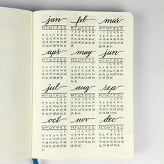 Bullet Journal - Full Year Calendar