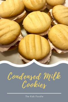 These delicious, super easy cookies are great just plain with some tea but I also like them sandwiched together with some icing. Condensed Milk Biscuits, Condensed Milk Cookies, Butter Icing, Baking With Kids, Vanilla Essence, Tray Bakes, Super Easy, Smoothies, Sandwiches
