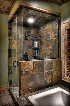 Dramatic Rustic Bathroom Design IDeas Bathroom design doesn't always must be bright and shiny. Rustic-style bathroom design also has variations that vary in line with the taste and persona. Cabin Bathrooms, Rustic Bathrooms, Dream Bathrooms, Beautiful Bathrooms, Luxury Bathrooms, Modern Bathrooms, Bad Styling, Rustic Bathroom Designs, Shower Designs