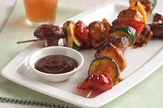 Barbecue sauce gives a sweet and smoky glaze to skewered chicken and veggies.