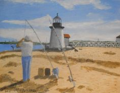 Brant Point Fisherman - Nantucket. 11 x 14 oil on canvas board. #nantucket #ACK #Brantpoint #lighthouse #painting #art #artist #fishing http://www.jackmckenzieart.blogspot.com/2015/11/new-painting-brant-point-fisherman.html