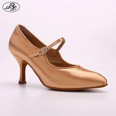 e1eb6c7906e Barato Mujer zapatos de baile de salón Rhinestone BD 137 luna Tan satén  tacón alto señoras