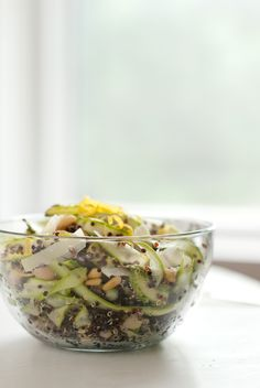 Ribboned asparagus and quinoa salad with parmesan, pine nuts and lemon (gluten free)