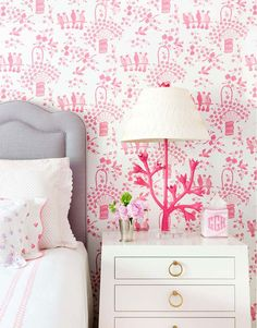 Bedroom design by Madre - It's fun to see the Tulip Tree Lamp with a different shade! Lamp by Stray Dog Designs.