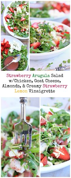 Perfect for spring! Strawberry Arugula Salad with Chicken, Goat Cheese, Almonds, and Creamy Strawberry Lemon Vinaigrette {gluten-free}