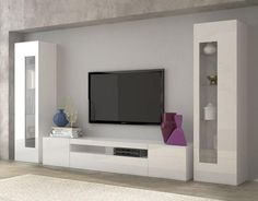 Daiquiri, modern TV cabinet and display units combination in white gloss finish, optional lights