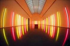 The work of Dan Flavin. Installation art
