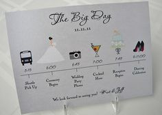 Wedding Timeline Card by pixelstopaper on Etsy, $1.40, or possibly a DIY project to hand out at the rehersal dinner