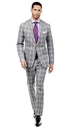 Gray Plaid Suit  #menswear #mensfashion #graysuit #mensstyle #glennplaid #wedding #weddingsuit #groom #groomssuit #groomsmen #groomsman #weddingstyle #suitandtie #bluesuit #plaidsuit