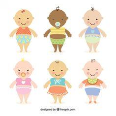 Cute babies Free Vector