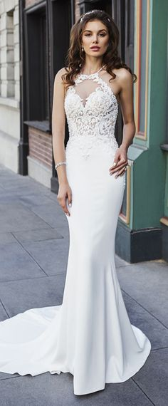 Fascinating Tulle & Acetate Satin Halyer Neckline See-through Bodice Mermaid Wedding Dress With Beaded Lace Appliques