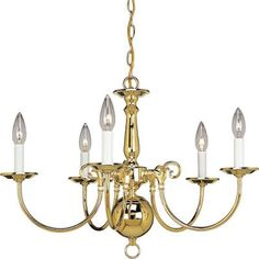 Progress Lighting Americana Collection 5-Light Polished Brass Chandelier-P4346-10 - The Home Depot