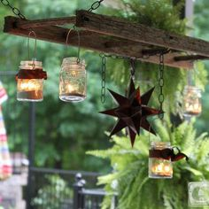 traditional patio Hanging Ladder Lantern Chandelier for the Patio - old ladder & mason jars repurposed Old Ladder, Vintage Ladder, Rustic Ladder, Antique Ladder, Small Ladder, Pot Mason, Mason Jars, Canning Jars, Lantern Chandelier