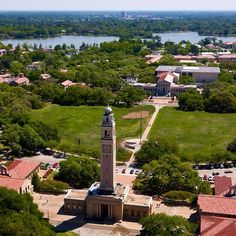 The #LSU Memorial Tower, Parade Grounds, the Old Law Building, and University Lake.