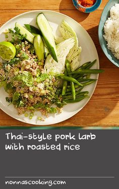 Thai-style pork larb with roasted rice Roast Meat Recipe, Minced Meat Recipe, Roast Chicken Recipes, Lamb Recipes, Side Recipes, Bean Recipes, Indian Food Recipes, Cooking Recipes, Cooked Chicken Recipes