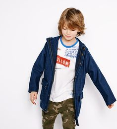 Image 1 of Denim parka from Zara Tween Boy Fashion, Girl Fashion Style, Toddler Fashion, Kids Fashion, Skate, Young Cute Boys, Zara, Baby Models, Kid Styles
