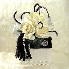 Ivory and Black Truffle Wedding favor Box Gift Ideas Homemade Candy Holder elegantly pre wrapped. $18.00, via Etsy.