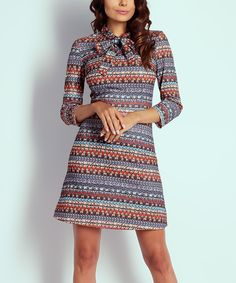 Look at this Blue & Red Geometric Tie-Neck A-Line Dress on #zulily today!