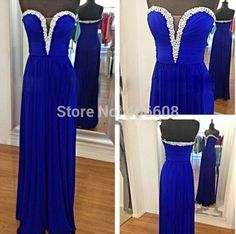 Find More Evening Dresses Information about Custom Made Pleated Top Long Chiffon Prom Dress Crystal Sweetheart Neck Royal Blue Evening Dress 2015,High Quality dresses quinceanera,China dress cherries Suppliers, Cheap dress a dress from Forever Lover Bridal on Aliexpress.com