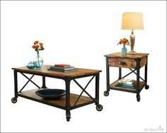 Rustic Country Wood Coffee Side End Accent Console Sofa Night Stand Table Set  #Unbranded
