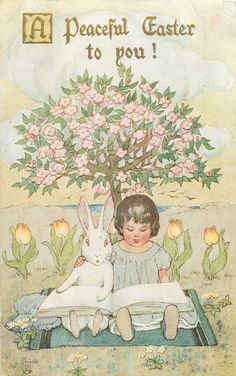 Tuck Girl Rabbit Sing Under Blooming Tree Easter Songs, Easter Art, Hoppy Easter, Easter Bunny, Vintage Greeting Cards, Vintage Postcards, Easter Illustration, Easter Parade, Easter Printables