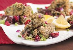 """""""Oven Fried"""" Oysters with a cranberry jalapeño salsa holiday appetizer #HolidaysMadeHappier"""