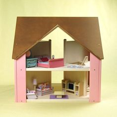 Custom Cottage with brown roof & light pink sides $325.00
