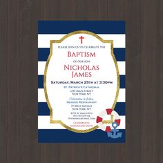 Navy & White Stripe Nautical Baptism Christening Invitation, Boys Baptism Christening Invite, Nautical Anchor, Red, or Digital File by CelebrationsbyMaria on Etsy Nautical Baptism, Nautical Party, Boy Baptism, Nautical Anchor, Baptism Themes, Baptism Party Favors, Baptism Ideas, Sailor Party, Sailor Theme