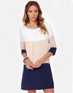 Shop White Apricot Navy Color Block Dress online. Sheinside offers White  Apricot Navy Color Block 1f270ce05
