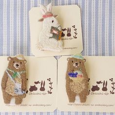 bears & bunny embroidery