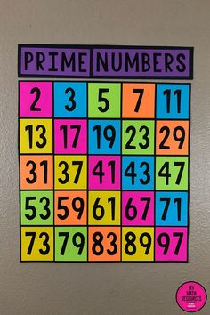 My Math Resources - FREE Prime Numbers Bulletin Board Poster This Free Prime Numbers Poster is perfect for any or jr. Perfect for your bulletin board or wall – just print, cut, and mount! Sixth Grade Math, Fourth Grade Math, Teaching 5th Grade, Ninth Grade, Seventh Grade, Teaching Math, Math College, Junior High Math, Math Bulletin Boards