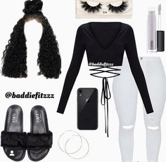 looks like it mix together with that sexy outfit Boujee Outfits, Cute Lazy Outfits, Baddie Outfits Casual, Swag Outfits For Girls, Cute Outfits For School, Teenage Girl Outfits, Cute Swag Outfits, Teenager Outfits, Teen Fashion Outfits