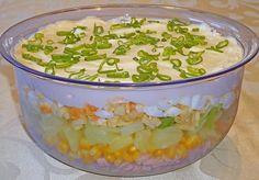 Fruchtig - pikanter Schichtsalat, ein schmackhaftes Rezept mit Bild aus der Kategorie Schwein. 205 Bewertungen: Ø 4,5. Tags: Eier oder Käse, Fleisch, Früchte, Gemüse, Hauptspeise, Party, Salat, Schwein