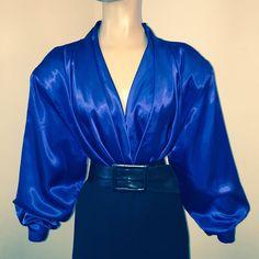 "1X Sapphire Blue LIQUID SATIN Shiny CASCADE Blouse Vtg Shirt Top 48"" Bust XL    eBay"