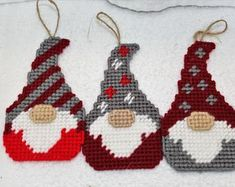 Home Decor Items by MerryMemoriesCrafts on Etsy Plastic Canvas Ornaments, Plastic Canvas Christmas, Plastic Canvas Patterns, Etsy Christmas, Christmas Gnome, Christmas Items, Gnome Ornaments, Hanging Ornaments, Christmas Tree Ornaments