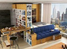 75 Lovely Small Studio Apartment Decor Ideas - Page 42 of 76 Small Studio Apartments, Small Apartment Design, Apartment Layout, 1 Bedroom Apartment, Apartment Interior Design, Apartment Living, Apartment Ideas, Apartment Decorating On A Budget, Decorating Small Spaces
