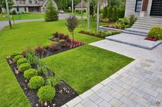 Façades Archives - Maître PaysagisteMaître Paysagiste Front Yard Landscaping, Patio Design, Habitats, Facade, Sidewalk, Landscape, Images, House, Gardening