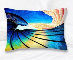 DECORATIVE THROW PILLOW 14 x14 Huge Wave & Surf Art. Sunshine Sunrise Ocean art, Hawaiian Surfer Abstract Wave.