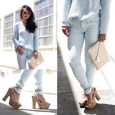 Mint Open Knit Sweater + Mint Skinny Jeans + Tan Cork Platforms + Tan Envelope Clutch